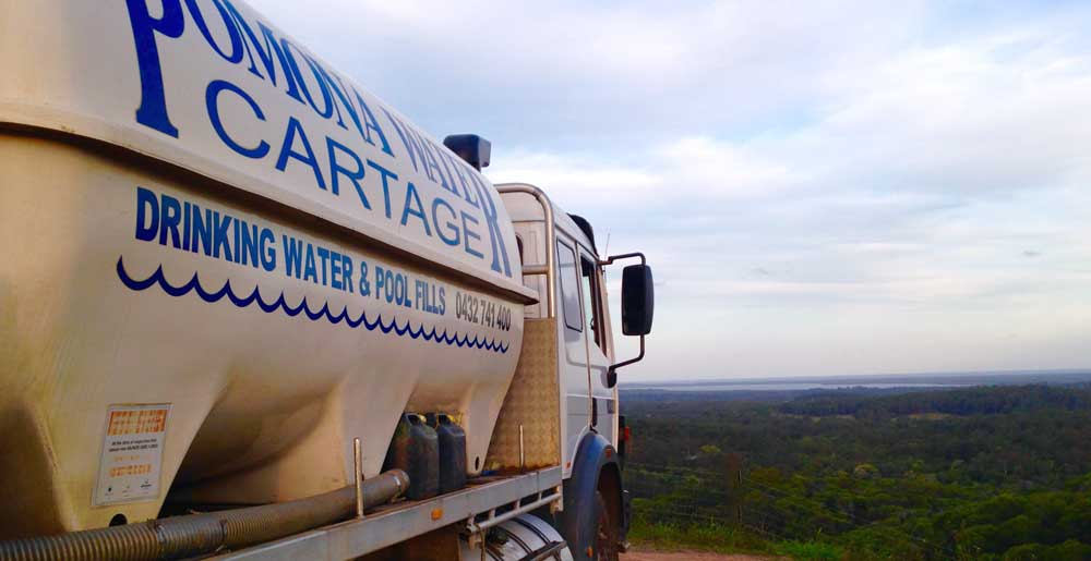 Pomoma Water truck overlooking Noosa and the hinterland